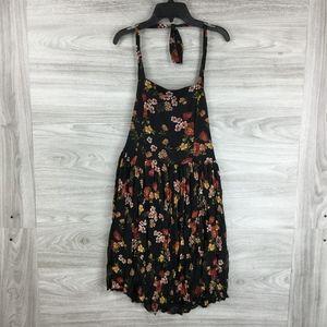 Xhiliration Black Floral Sleeveless Halter Dress